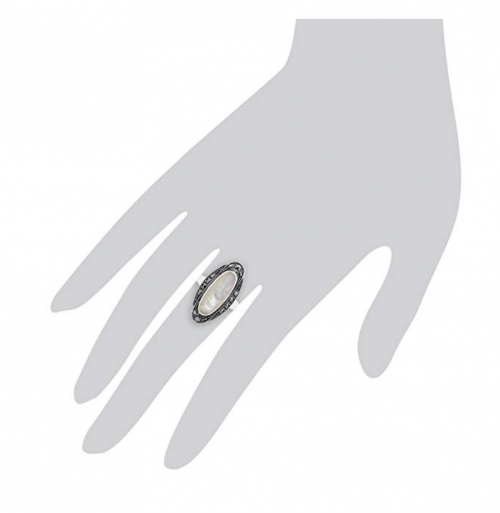 Gemondo Art Deco Mother of Pearl & Marcasite Ring On Hand