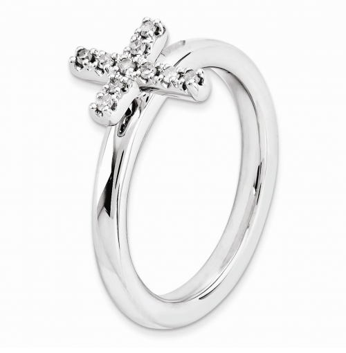 Black Bow Jewelry & Co. Diamond Cross Ring Detail Cross