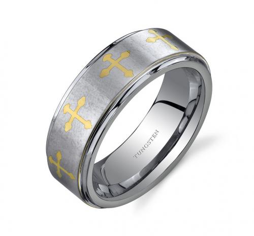 Ruby & Oscar Men's Cross Ring in Tungsten