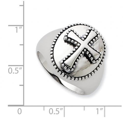 Black Bow Jewelry & Co. Milgrain Cross Ring Size