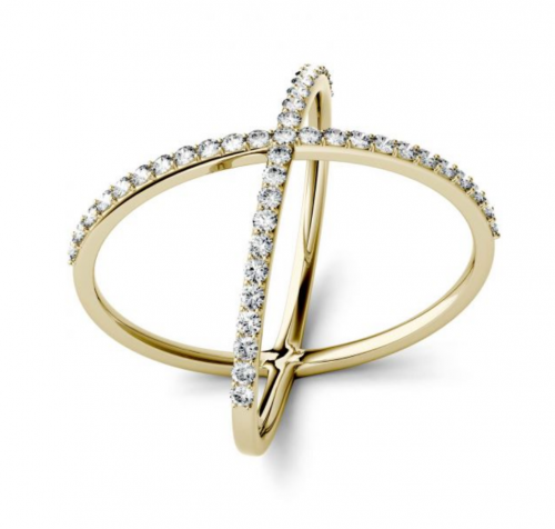 Charles & Colvard Cross Geometric Ring 2