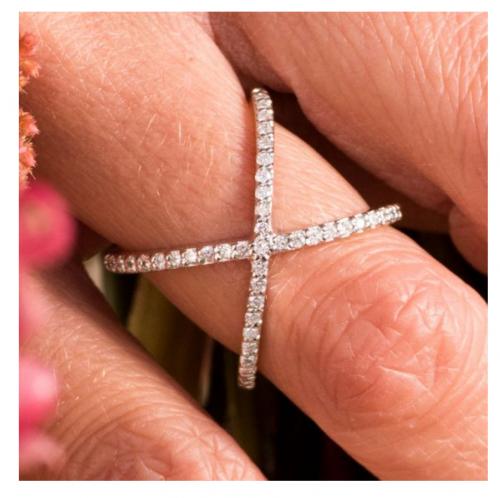 Charles & Colvard Cross Geometric Ring on Hand
