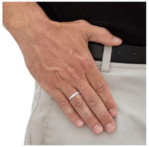Palm Beach Jewelry Men's 10K White Gold  Ring on Hand