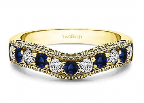 TwoBirch Diamonds and Sapphire Vintage Wedding Band in Yellow Gold