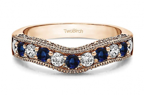 TwoBirch Diamonds and Sapphire Vintage Wedding Band in Rose Gold