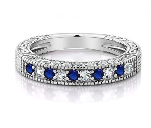 Gem Stone King Created Sapphire Wedding Band Horizontal
