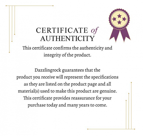 Dazzlingrock Collection Certificate of Authenticity
