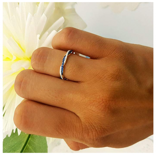 Dazzlingrock Collection Swirl Stackable Ring on Hand