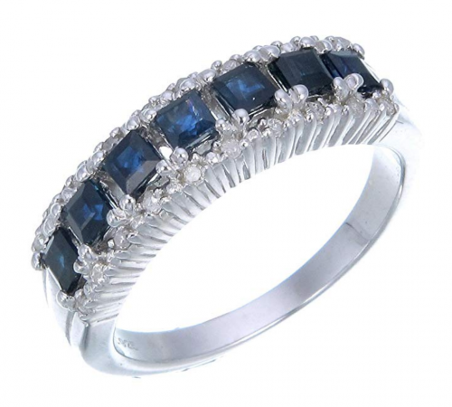 VIR Jewels Sterling Silver Blue Sapphire & Diamond Band Detailed View