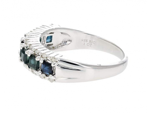 VIR Jewels Sterling Silver Blue Sapphire & Diamond Band Side View