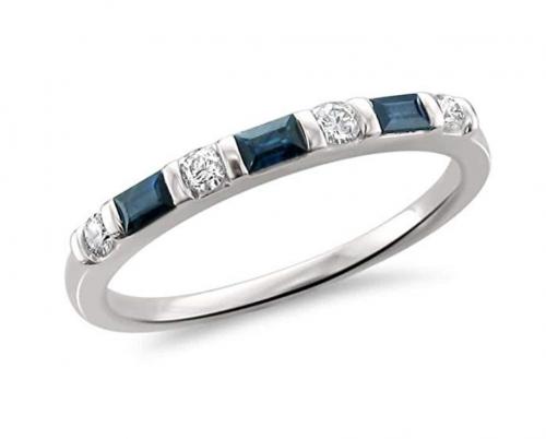 La4ve Diamonds 14k Baguette Blue Sapphire Band