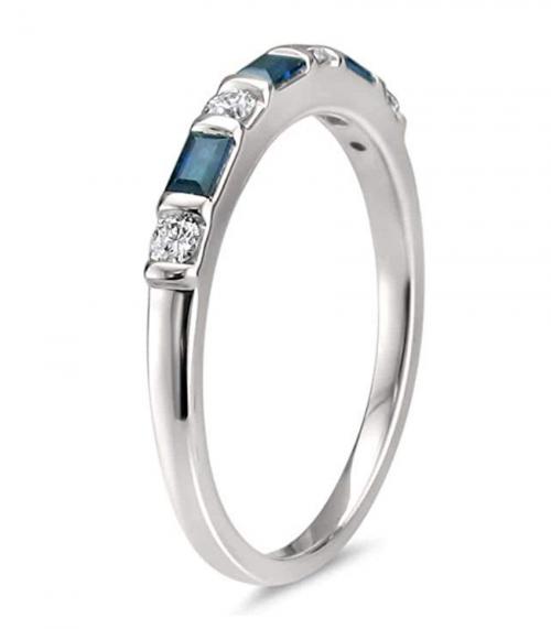 La4ve Diamonds 14k Baguette Blue Sapphire Band Profile