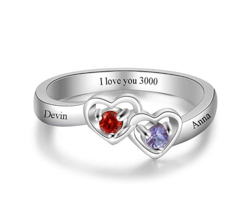 Luolajewelry Personalized Heart Birthstone Ring