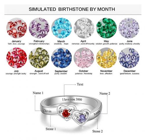 Luolajewelry Personalized Heart Birthstone Ring - Birthstone Choice