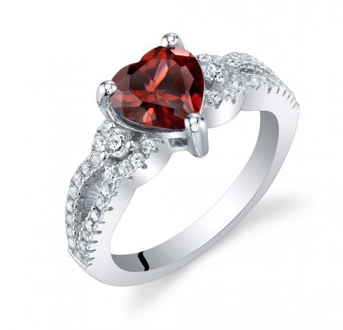 Ruby & Oscar Heart Shaped Garnet Soulmate Ring