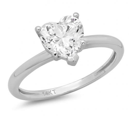 Clara Pucci Brilliant Heart Cut Solitaire Ring