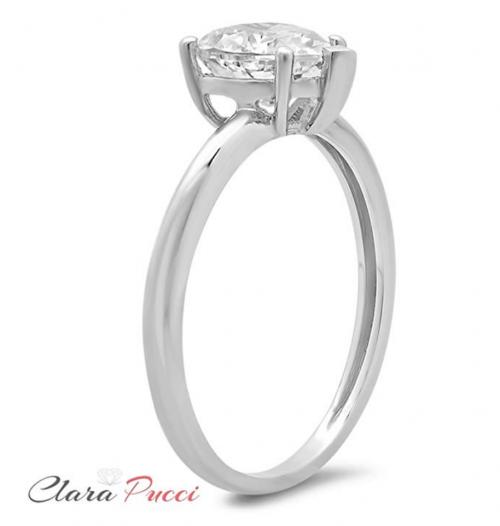 Clara Pucci Brilliant Heart Cut Solitaire Ring Profile