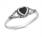 Sac Silver Onyx Heart Ring