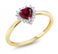 Gem Stone King Ruby and Diamond Heart Ring