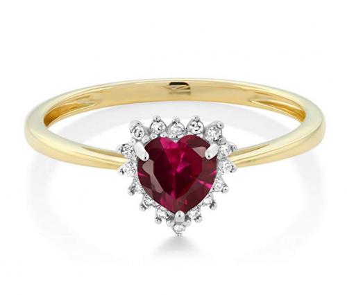Gem Stone King Ruby and Diamond Heart Ring Horizontal