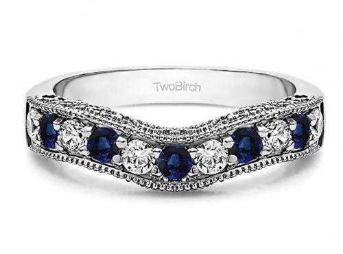 TwoBirch Diamonds and Sapphire Vintage Wedding Band