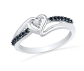 D-GOLD Black and White Heart Ring