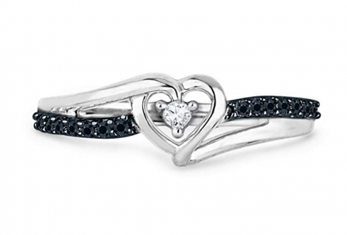 D-GOLD Black and White Heart Ring 2