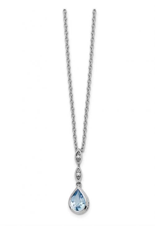 Black Bow Jewelry & Co. Blue Topaz Teardrop & Diamond Necklace