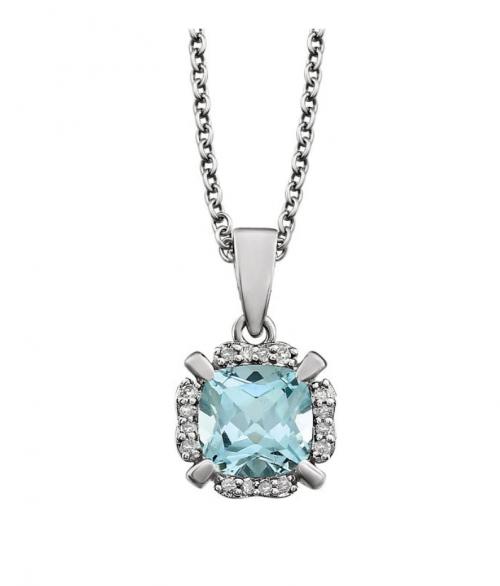 Black Bow Jewelry & Co. Diamond & Blue Topaz Necklace in 14k White Gold