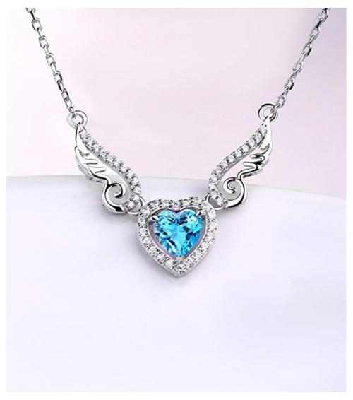 HXZZ Fine Jewelry Angel Wings Pendant Necklace Detail
