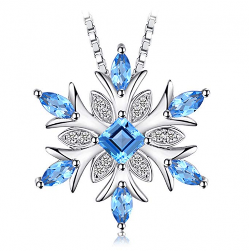 JewelryPalace Snowflake Blue Topaz Necklace