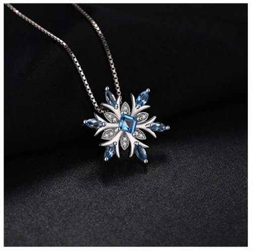 JewelryPalace Snowflake Blue Topaz Necklace on Display