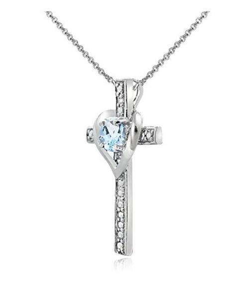 GemStar USA Cross Heart Pendant Necklace Profile