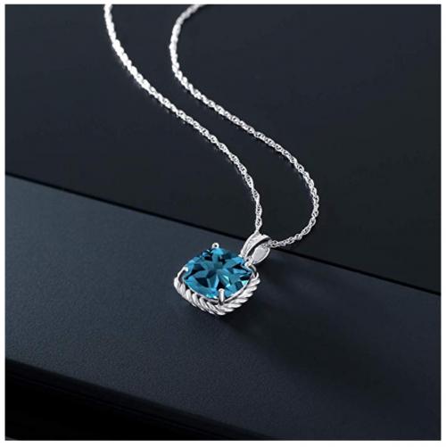 Gem Stone King London Blue Topaz Necklace on Display