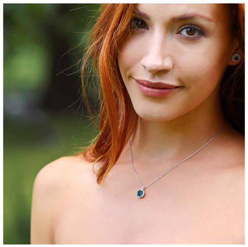 Gem Stone King London Blue Topaz Necklace on Model