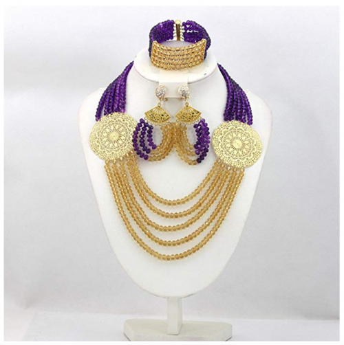 Africanbeads Purple and Gold Jewelry Set on Display