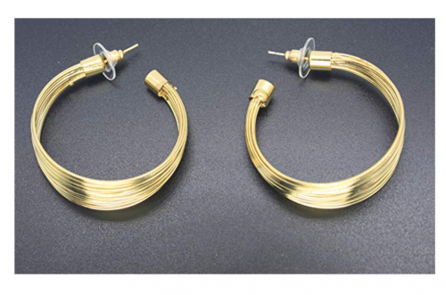 MOOCHI Gold Plated African Strands Earrings on Display