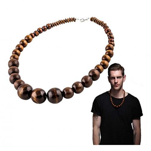 EVBEA Unisex Wood African Necklace on Model