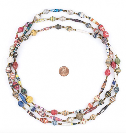 The Bead Chest Recycled Paper Bead Necklace