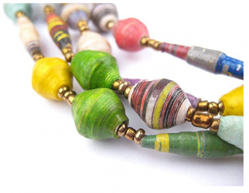 The Bead Chest Recycled Paper Bead Necklace Detail