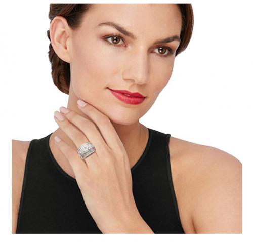 Ross-Simons Diamond Multi-Row Ring on Model