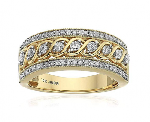 Jewelili 10kt Yellow Gold Anniversary Ring