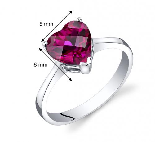 Ruby & Oscar Heart Shaped Ruby Ring Sizes