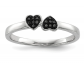 Black Bow Jewelry & Co. Black Diamond Double Heart Ring