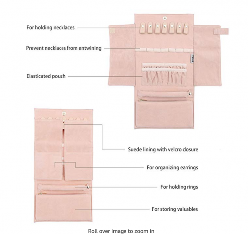 Becko Jewelry Roll Travel Bag Details
