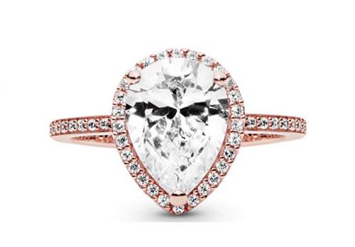 Pandora Jewelry Sparkling Teardrop Halo Ring Frontal View