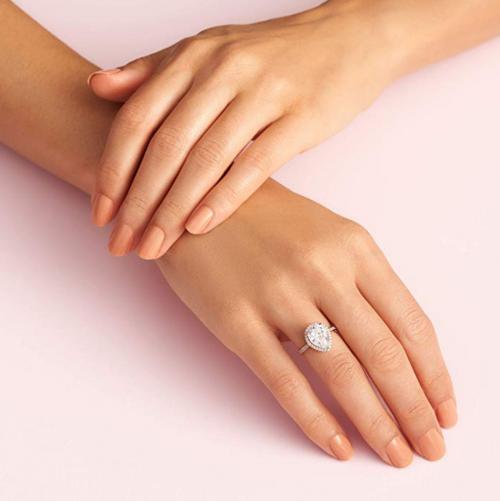 Pandora Jewelry Sparkling Teardrop Halo Ring on Hand