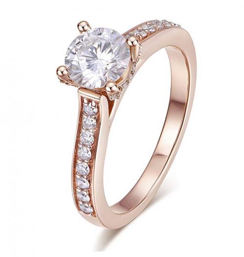 HAFEEZ CENTER Moissanite Rose Gold Engagement Ring