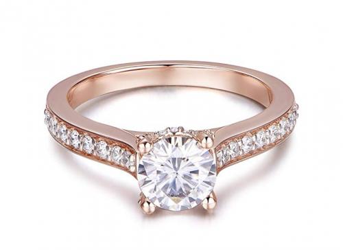 HAFEEZ CENTER Moissanite Rose Gold Engagement Ring Frontal