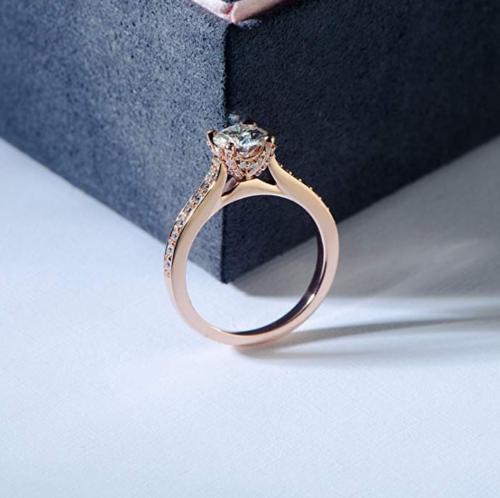 HAFEEZ CENTER Moissanite Rose Gold Engagement Ring Side View